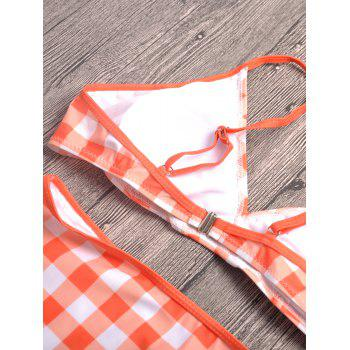 Spaghetti Strap Plaid Bikini - Orange Rose S