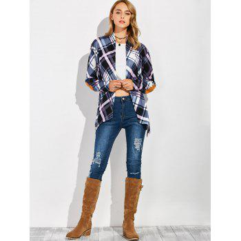 Plaid Open Front Elbow Patch Coat - CHECKED L