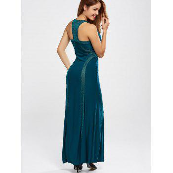 High Neck Floor Length Maxi Prom Evening Dress - PEACOCK BLUE M