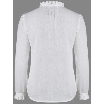 Long Sleeve Ruffles Work Blouse - WHITE M