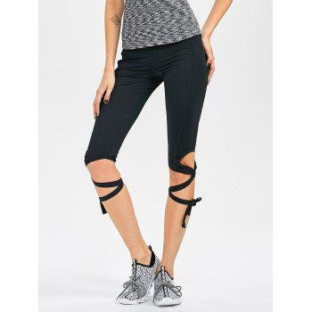 Stretchy Cut Out Bandage Cropped Yoga Leggings