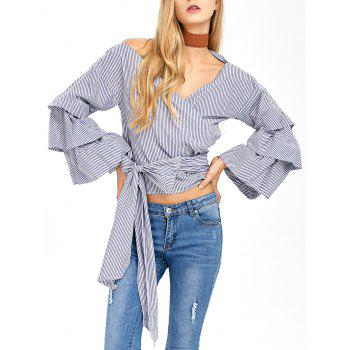 V Neck Layered Sleeve Striped Wrap Blouse