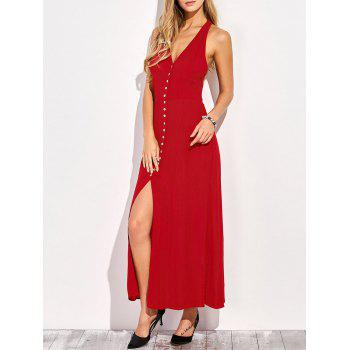 Plunging Neck Racerback Front Slit Maxi Club Dress