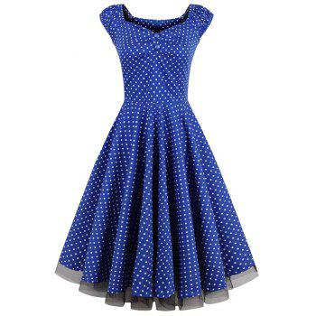 Polka Dot Lace Insert Swing Dress