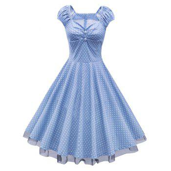 Sweetheart Neck Polka Dot Lace Insert Swing Dress - CLOUDY CLOUDY
