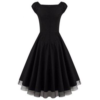 Lace Panel  Ruched Swing Dress - BLACK BLACK