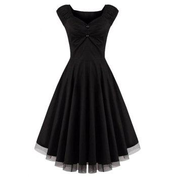 Lace Panel  Ruched Swing Dress
