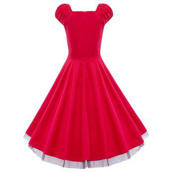 Lace Panel  Ruched Swing Dress - RED L