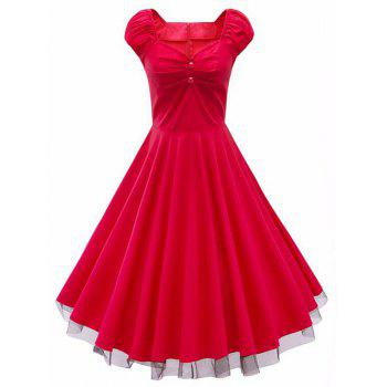 Lace Panel  Ruched Swing Dress - RED RED