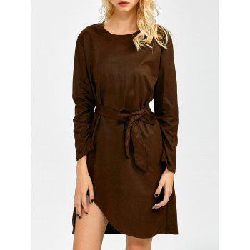 Long Sleeve Suede Fabric Asymmetric Mini Dress