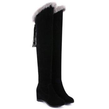 Hidden Wedge Faux Fur Zipper Thigh Boots