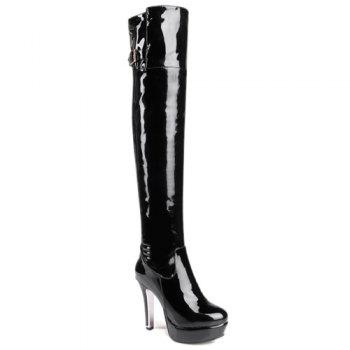 Buckle Strap Platform Patent Leather Thigh Boots