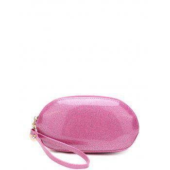 Patent Leather Zipper Around Wristlet - PINK PINK