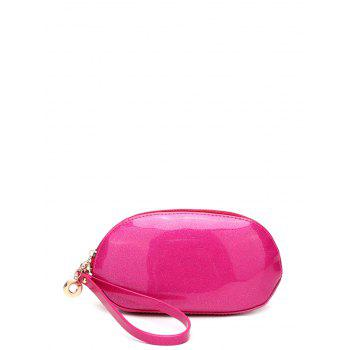 Patent Leather Zipper Around Wristlet - ROSE RED ROSE RED