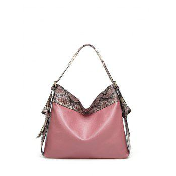PU Leather Snake Pattern Panel Shoulder Bag