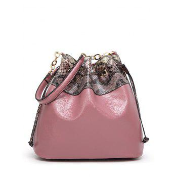 Drawstring Snake Pattern Panel Bucket Bag