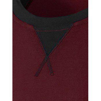 Color Splicing Long Raglan Sleeve T-Shirt - WINE RED M