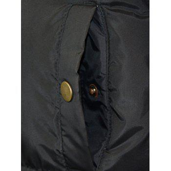 Multi-Pocket Drawstring Hooded Lengthen Cotton-Padded Coat - BLACK 3XL