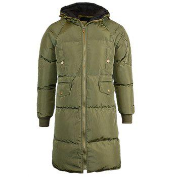 Multi-Pocket Drawstring Hooded Lengthen Cotton-Padded Coat