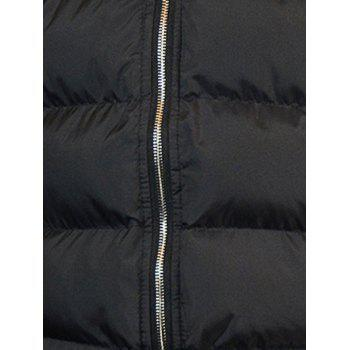 Zip-Up Letter Pattern Hooded Padded Coat - BLACK S