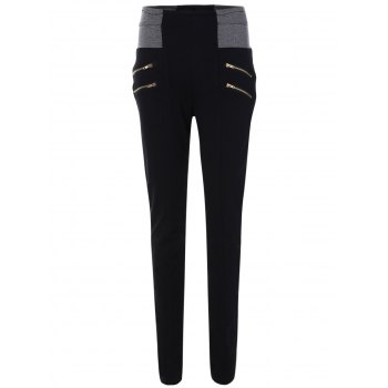 Zippers Patch High Waist Pencil Pants