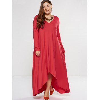 Plus Size Asymmetrical Smock Maxi Dress