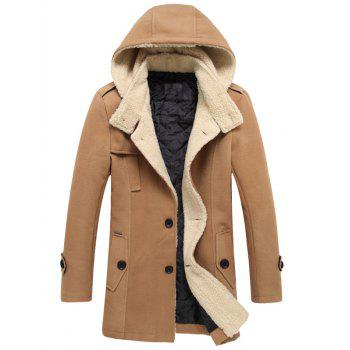 Thicken Hooded Flocking Single Breasted Wool Blends Coat