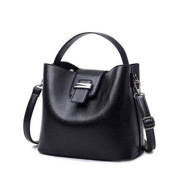 Magnetic Button Metal Textured Leather Tote Bag