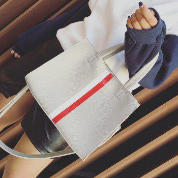 Magnetic Closure Textured Leather Striped Tote Bag