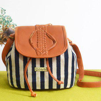 Braid Striped Panel Bucket Bag