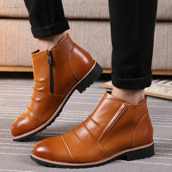 Zip Pleated Engraving Boots - BROWN BROWN
