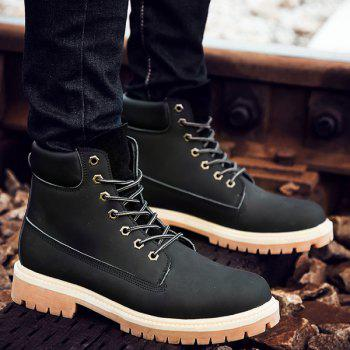 Lace Up Suede PU Leather Boots - BLACK 44