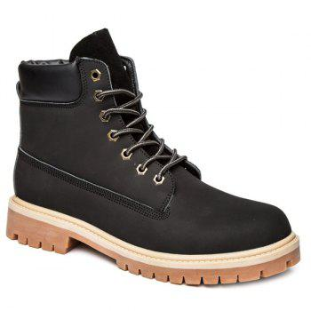 Lace Up Suede PU Leather Boots