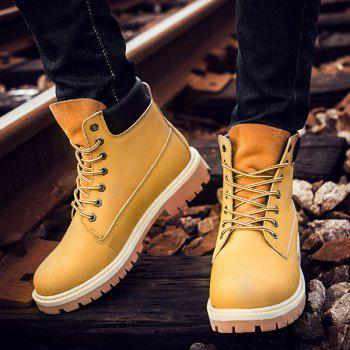 Lace Up Suede PU Leather Boots - SAND YELLOW 41