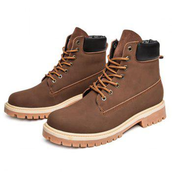 Lace Up Suede PU Leather Boots - DEEP BROWN 43