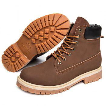 Lace Up Suede PU Leather Boots - DEEP BROWN 42