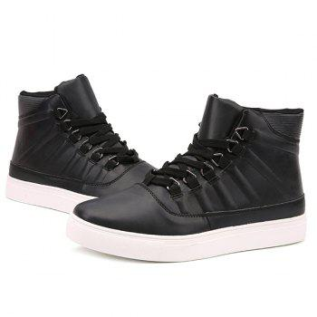 PU Leather Striped Tie Up Boots - BLACK BLACK