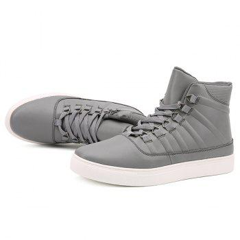 PU Leather Striped Tie Up Boots - GRAY GRAY