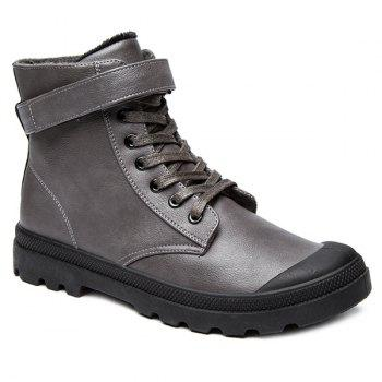 PU Leather Metal Tie Up Boots