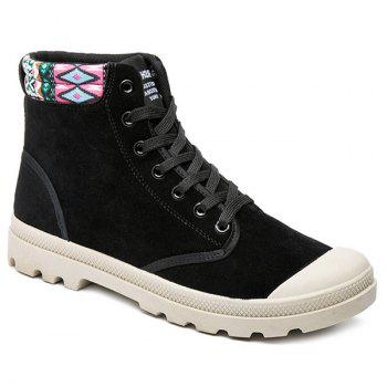 Tie Up Tribe Pattern Colour Block Boots - BLACK 40
