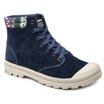 Tie Up Tribe Pattern Colour Block Boots - PURPLISH BLUE 40