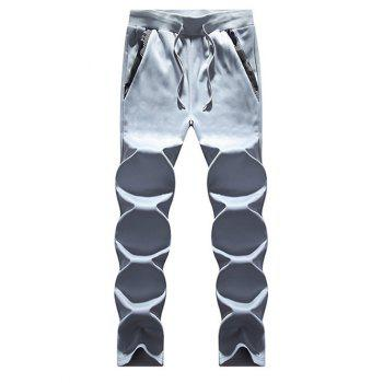 Zip Up Camouflage Insert Hoodie and Sweatpants - LIGHT GRAY LIGHT GRAY