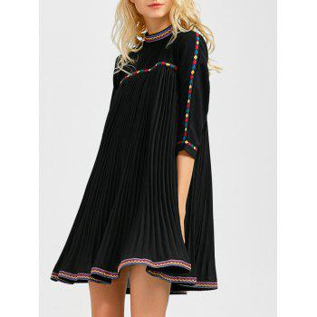 Embroidered Trim Pleated Mini Swing Dress