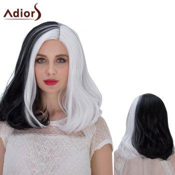 Buy Adiors Hair Medium Middle Part Double Color Straight Cosplay Synthetic Wig WHITE/BLACK