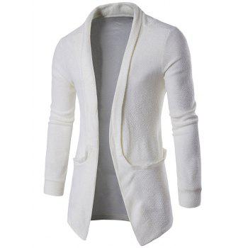 Texture Pocket Open Front Cardigan