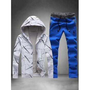 Zip Up Printed Hoodie and Sweatpants
