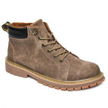 Tie Up Metal Colour Block Boots - KHAKI KHAKI