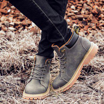 Tie Up Metal Colour Block Boots - GRAY GRAY