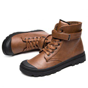 PU Leather Metal Tie Up Boots - BROWN BROWN