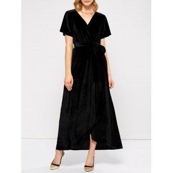 Maxi Velvet Wrap Formal Prom Dress
